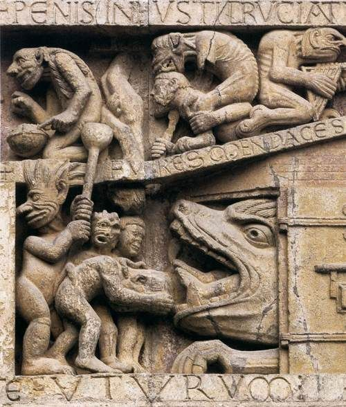 ROMANESQUE SCULPTOR, FrenchTympanum (detail)1125-35StoneAbbey Church of Sainte-Foy, Conques