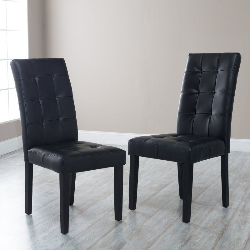 Martha Bonded Leather Parsons Dining Chair Set Of 2 Black Prs Sc Blk