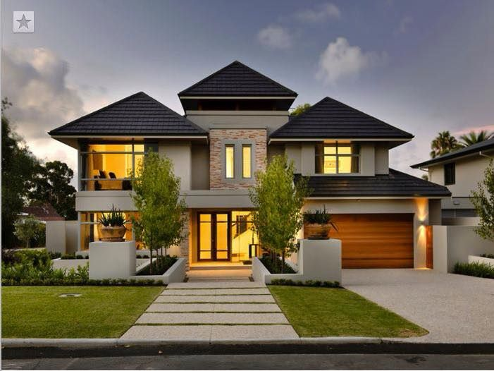 This inspirational contemporary double storey house with for Corner block home designs