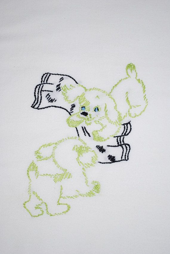 """Embroidered """"puppies playing"""" 1950"""