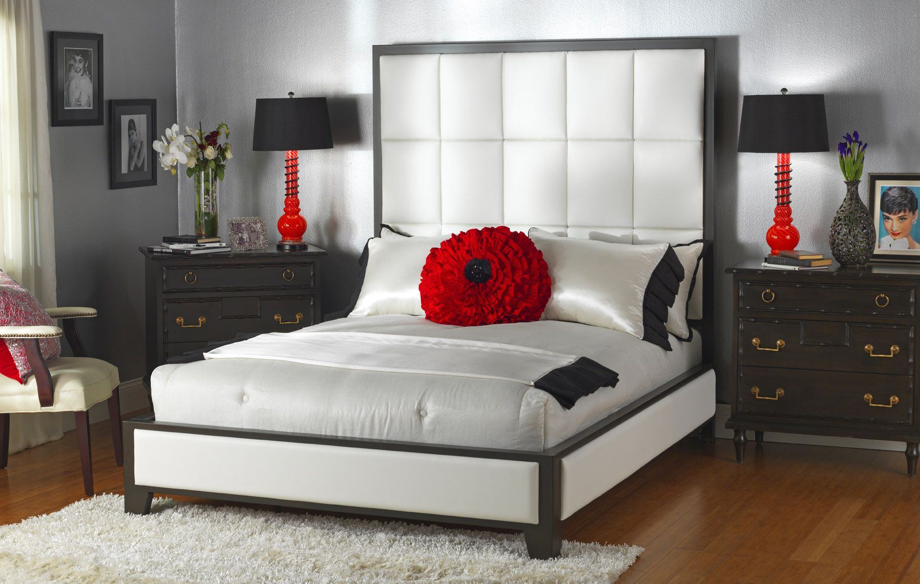 New platform bed with upholstered headboard from