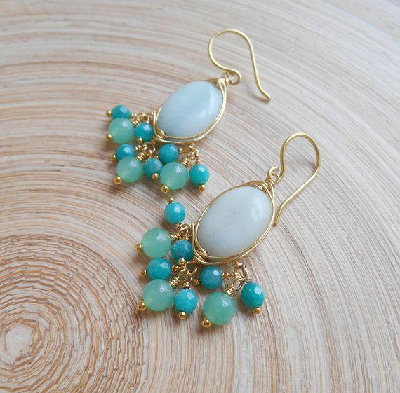 Myrsine mint bridal gemstone chandelier earrings light soft pastel ...