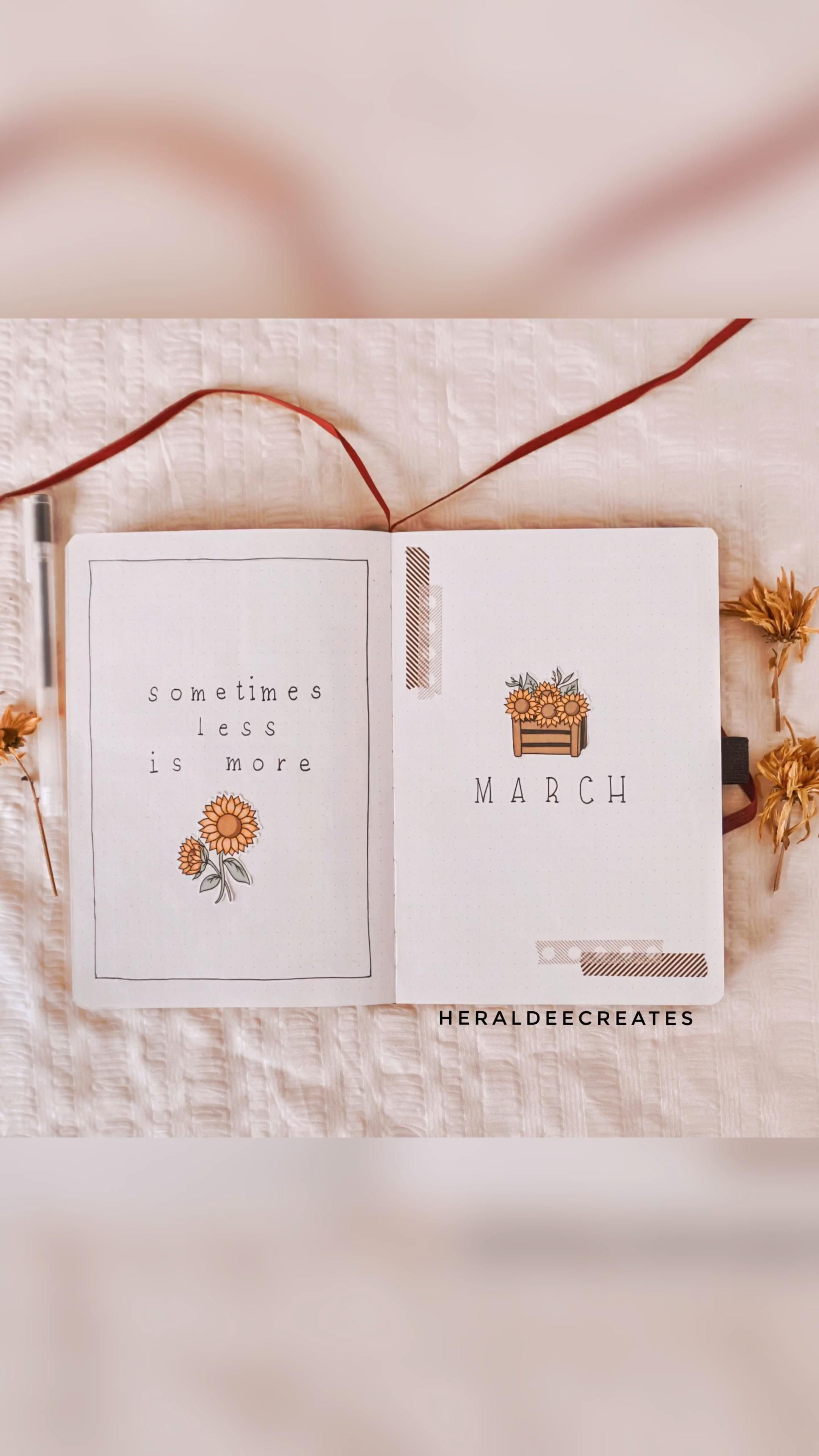Minimalist Sunflower Bullet Journal Set-up