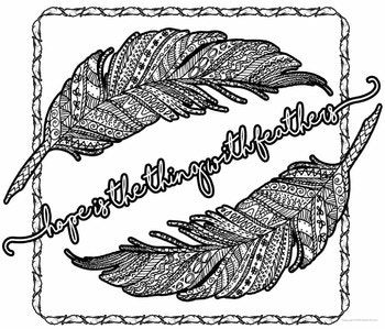 Poetry Coloring Pages: Hope is the Thing With Feathers by