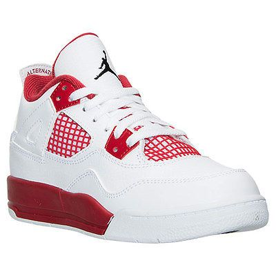 9113a886bbd0 Nike Jordan 4 Retro Alternate Ps Kids 308499-106 White Red Shoes Youth Size  10.5