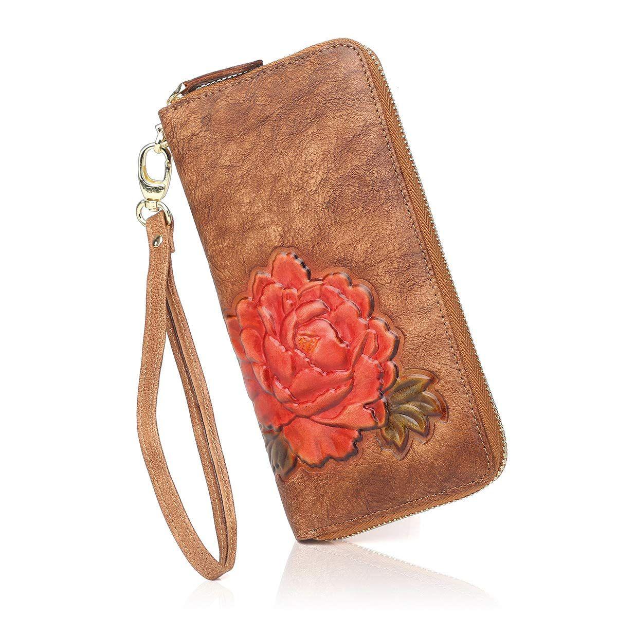Aphison designer womens leather zipper wallets cowhide