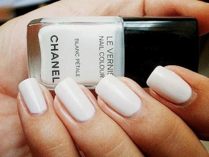 white Chanel nails #classic