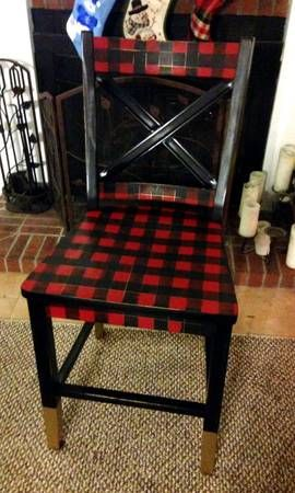 Lumberjack Plaid Chair. Aka Buffalo Check. Painted Chair With Brass Painted  Accents. Currently