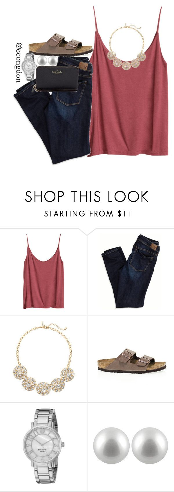 """""""birks!"""" by econgdon ❤ liked on Polyvore featuring H&M, American Eagle Outfitters, The Limited, Birkenstock, Kate Spade and Splendid Pearls"""