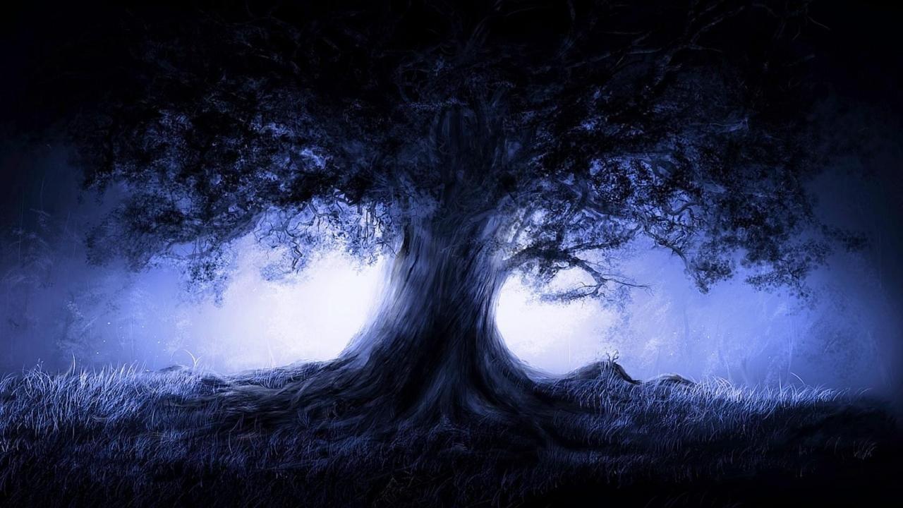 Trees Dark Nature Graphics Wow Night Dark Tree Gothic Wallpaper Digital Art Fantasy