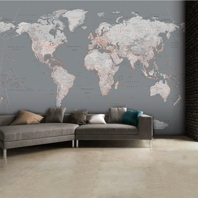 Detailed silver grey world map feature wall wallpaper mural 315cm detailed silver grey world map feature wall wallpaper mural 315cm x 232cm gumiabroncs Images