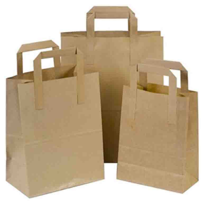Natural Brown SOS Paper Bags wholesale with Flat Handles – Pico ...