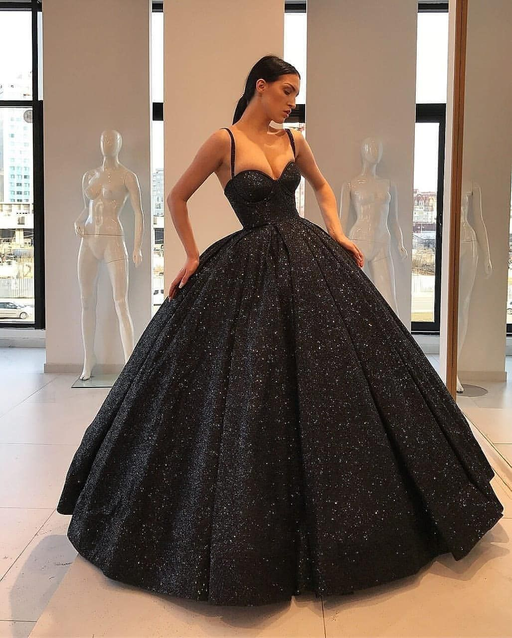 Gorgeous Ball Gown Sweetheart Spaghetti Straps Black Long Prom Dresses With Pockets Sparkly Quinceanera D Black Ball Gown Ball Gowns Prom Dresses With Pockets [ 1280 x 1027 Pixel ]