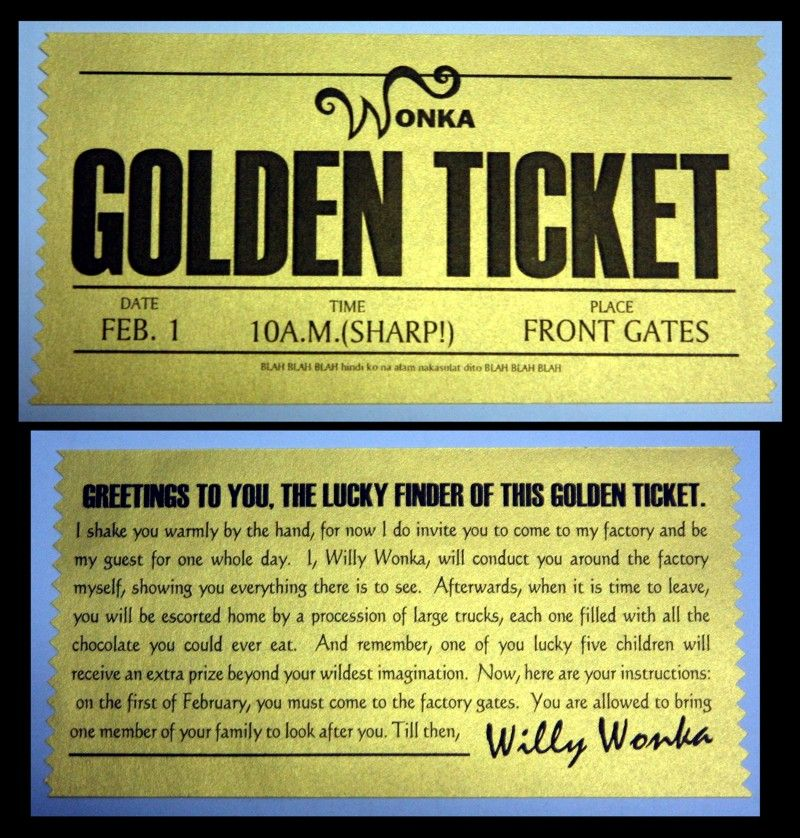 picture about Printable Golden Tickets titled Willy+Wonka+Golden+Ticket+Printable Cosplay Golden