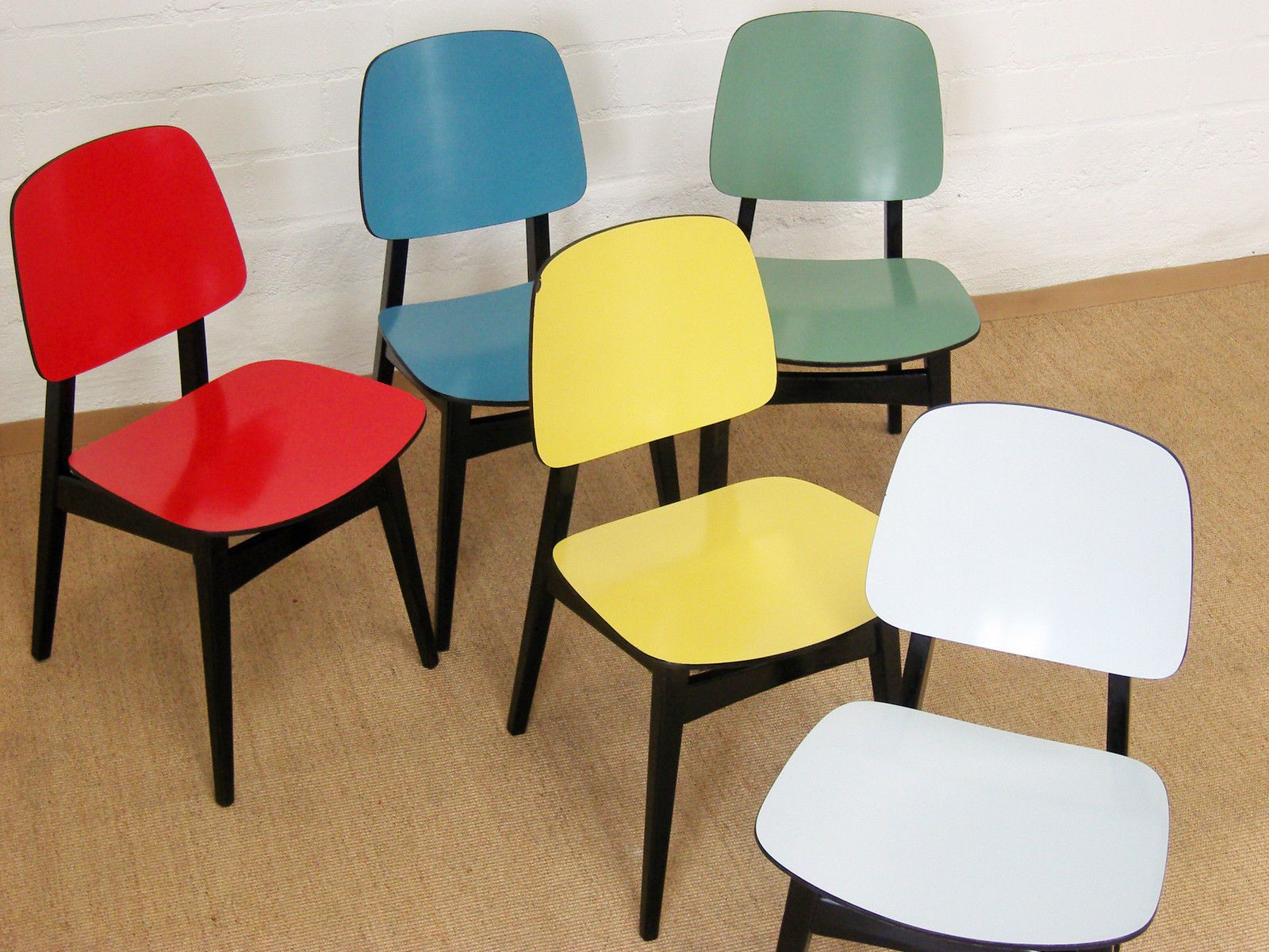 orig. LÜBKE Stuhl BLAU chair chaise 1 - 4 stühle dining chair 50er ...