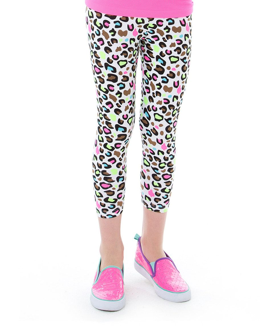 fc181755e4d8c LittleMissMatched Black & Pink Leopard Leggings - Girls by  LittleMissMatched #zulilyfinds
