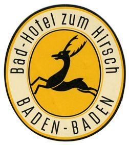 Artist Unknown poster: Bad-Hotel zum Hirsch Baden-Baden (Luggage Label)