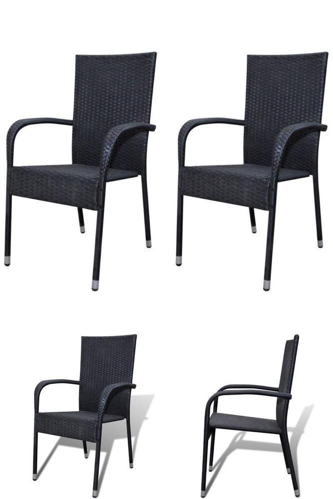 black rattan chairs set of 2 dining seats stackable garden patio rh pinterest com