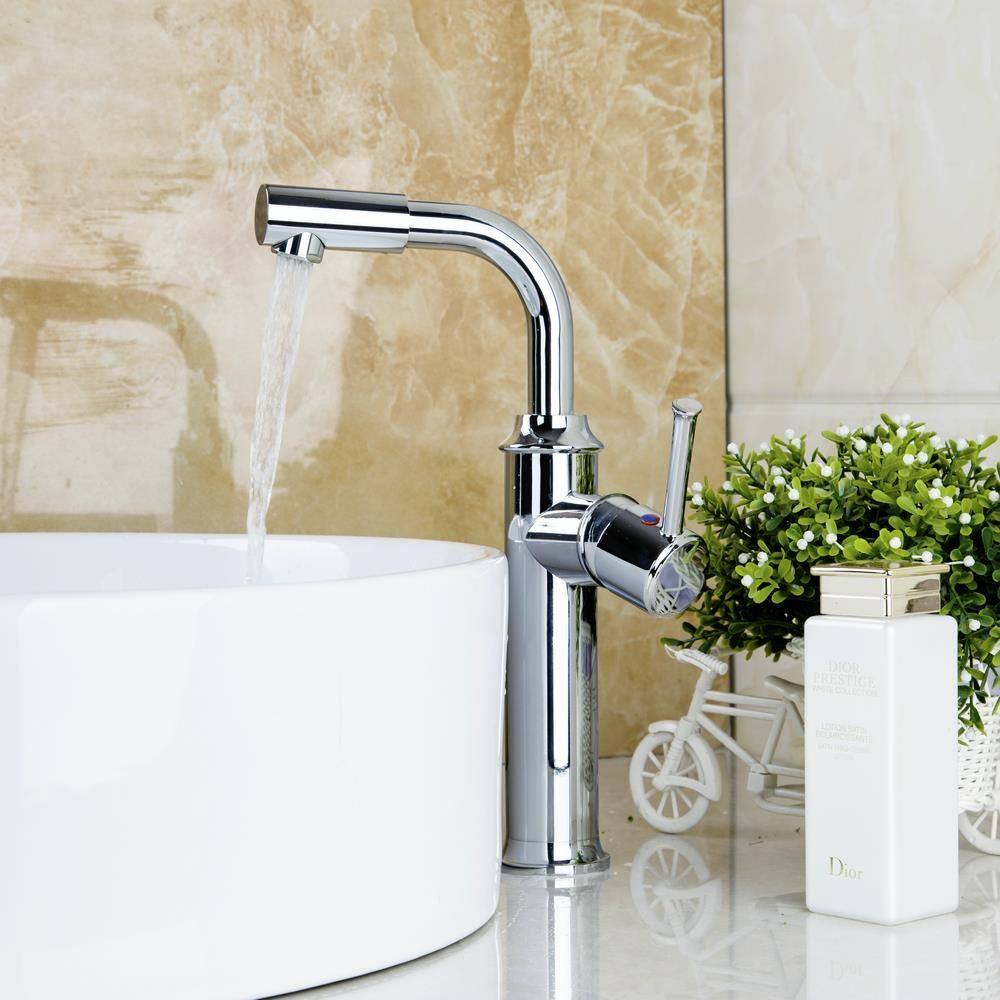 Hello Tall Hot/Cold Water Kitchen Sink Faucet Chrome Finish Swivel ...