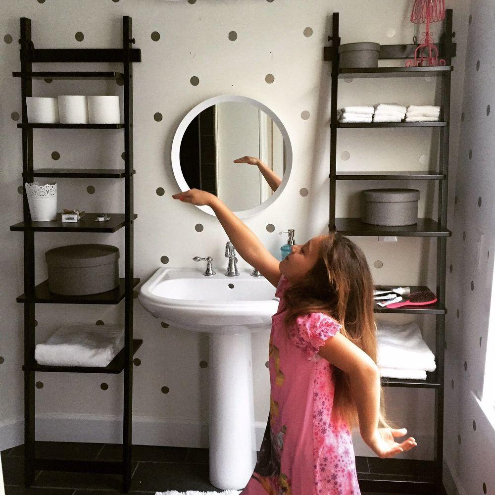 diy shelf ideas for bathroom%0A DIY  Vinyl Polka Dot Decals