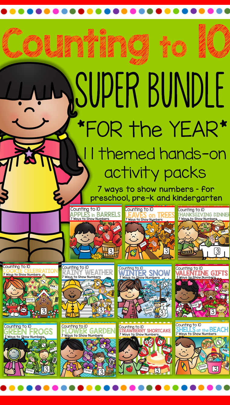 COUNTING to 10 BUNDLE - 11 Activity Packs for the Year - 7 Ways to ...