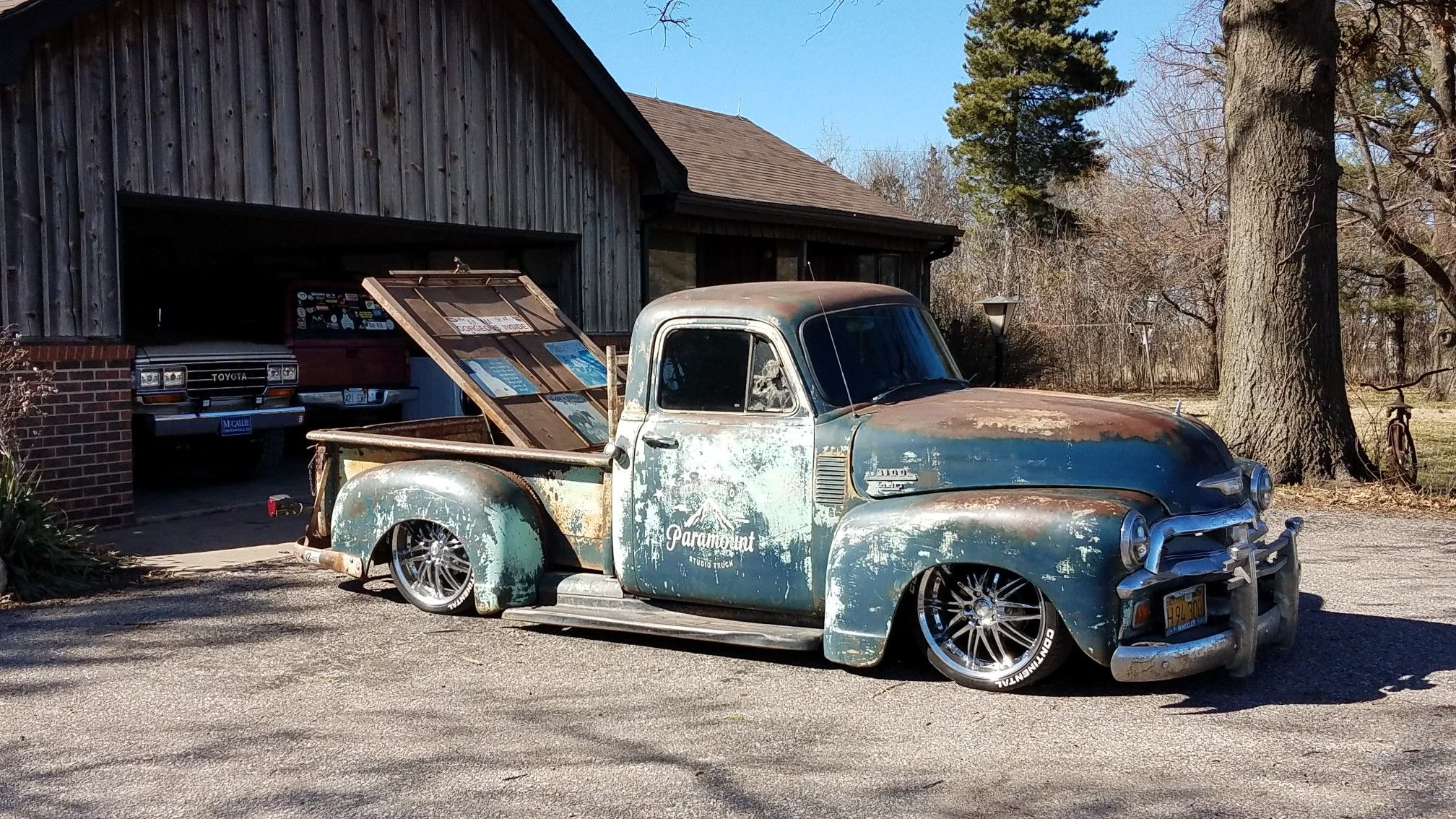 1954 Chevy 3100 with 89 s10 frame, air bags, 4 link, 10 bolt rear
