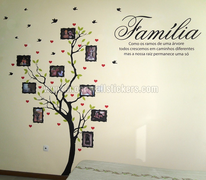 Family Tree With Photo Frames Wall Sticker Quote Portuguese Pics Photos Stickers  Decals Art Decal Decor