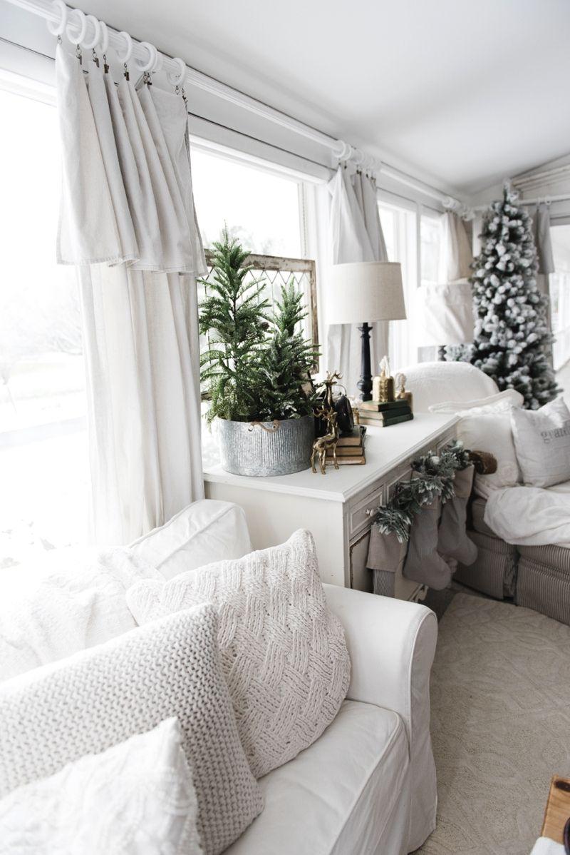 diy drop cloth curtains in the sunroom holidays diy curtains rh pinterest com