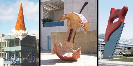 Ice Cream Cone in Germany, Apple Core in Jerusalem & Saw in Tokyo by Claes Oldenburg and Coosje van Bruggen