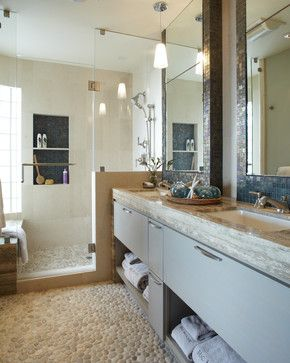 white pebble tile flooring and shower pan vanity paint color rh pinterest com