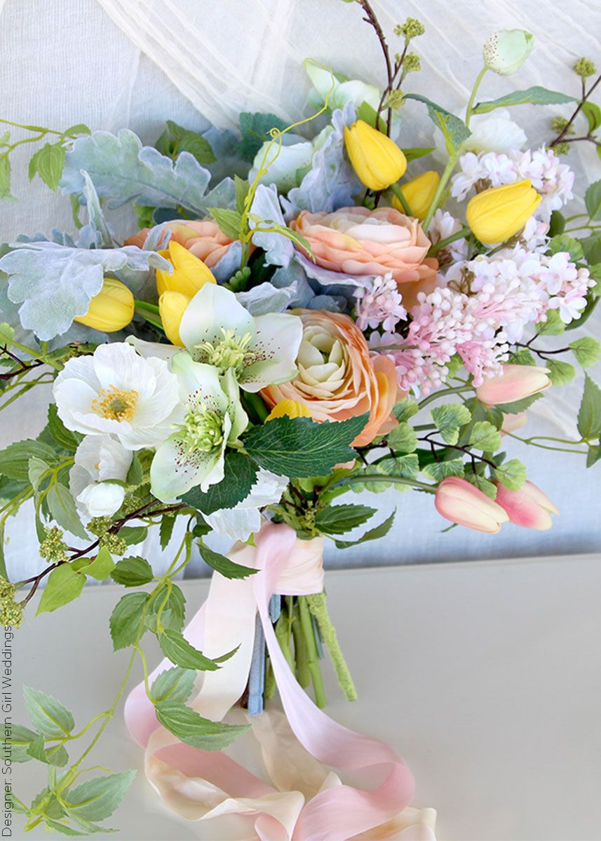 Silk flower wedding bouquet filled with artificial spring flowers silk flower wedding bouquet filled with artificial spring flowers from afloral designed by southern girl weddings mightylinksfo