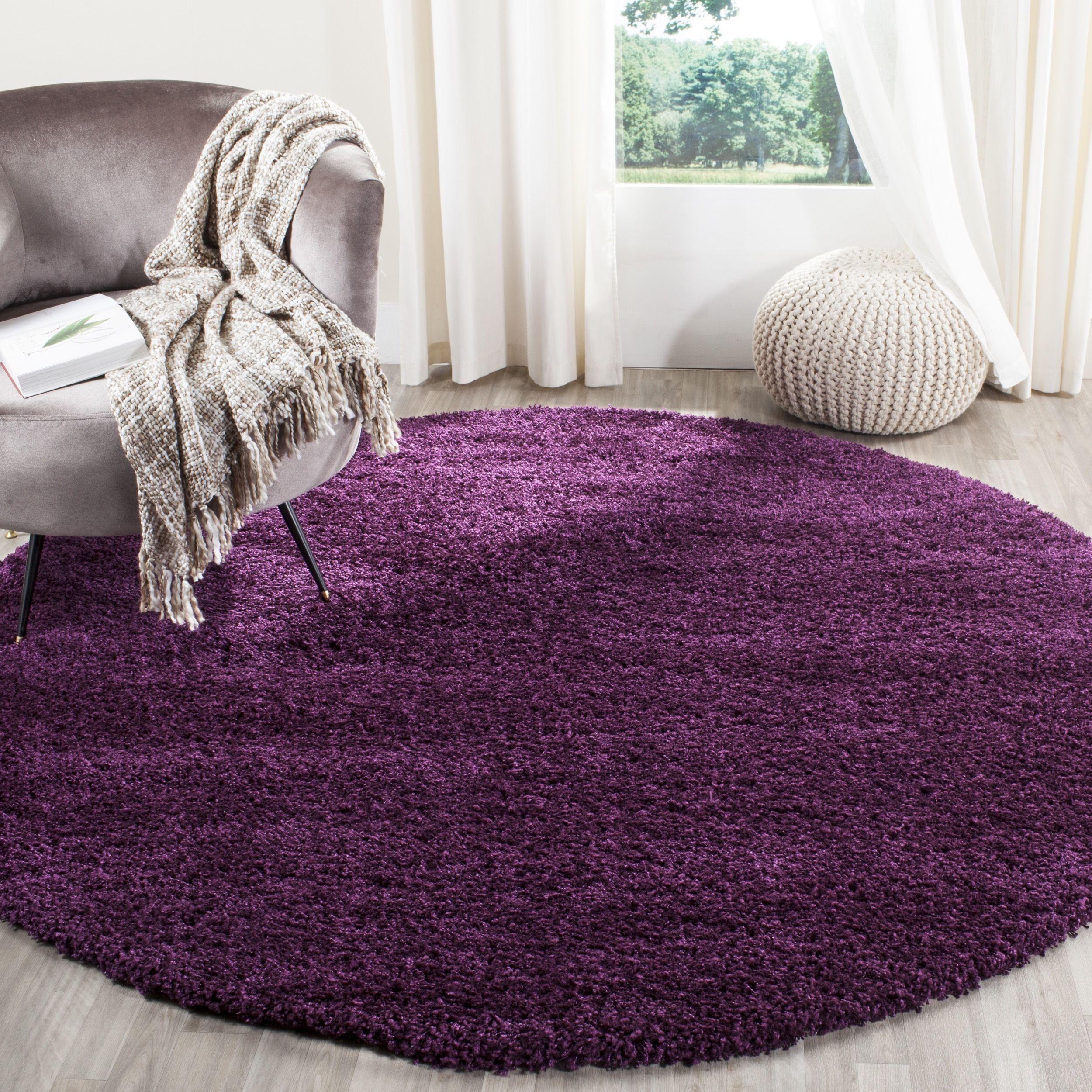 safavieh california cozy solid purple shag rug 6u0027 7 round sg151