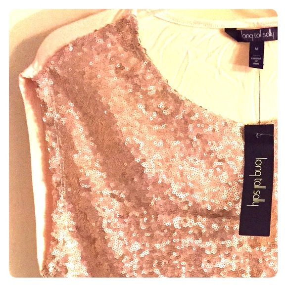 Sequin front tee Sequin front t from long tall Sally    ***size M but fits larger***    Never worn Long tall sally Tops Tees - Short Sleeve