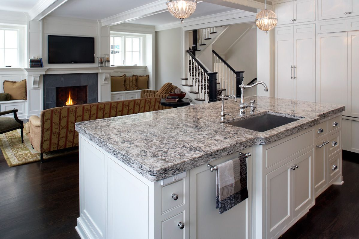 Cambria S Bellingham On A Kitchen Island Cambriaquartz Modern White Kitchen Island White Modern Kitchen Kitchen Island Countertop