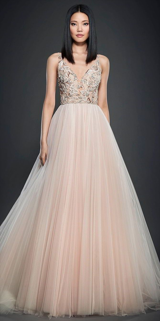 c3937666ce5f Blush pleated net bridal ball gown, V neckline front and back, Crystal  beaded and embroidered floral bodice over cashmere chiffon sweetheart  lining, ...