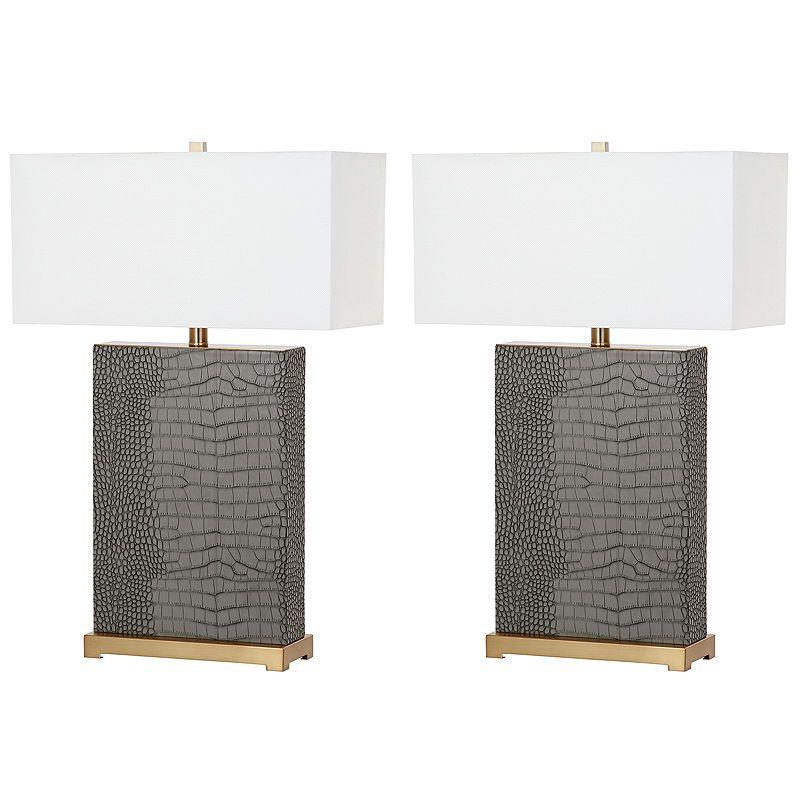Safavieh Joyce Faux Alligator Table Lamp Grey Table Lamps Lamp Sets Table Lamp Sets