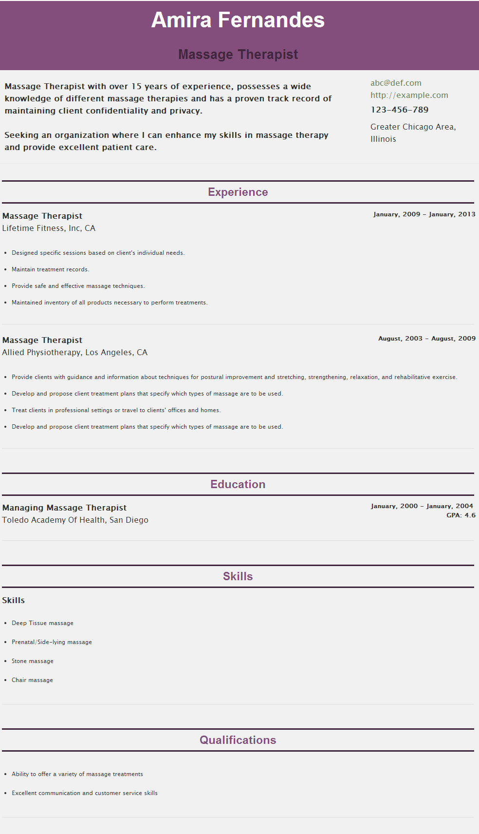 Resume For Massage therapist - https://hipcv.com/abc/r/massage ...