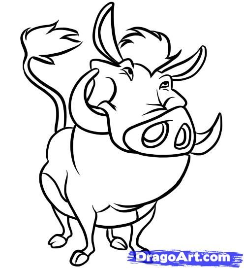 now that you have finally made it to the last step you can now draw out the legs hooves chest and belly for pumba description from dragoartco
