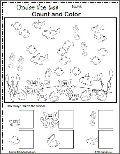 Under The Sea Count And Color Made By Teachers Kindergarten Math Worksheets Preschool Writing Kindergarten Worksheets