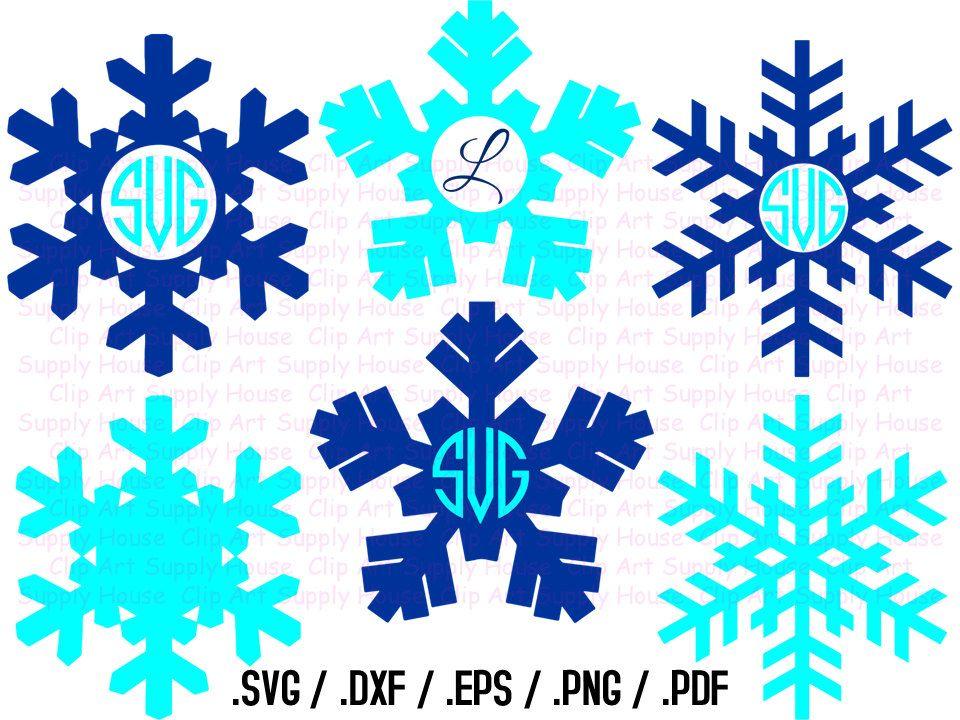 Winter Snowflakes Clipart Snowflakes Monogram Frame