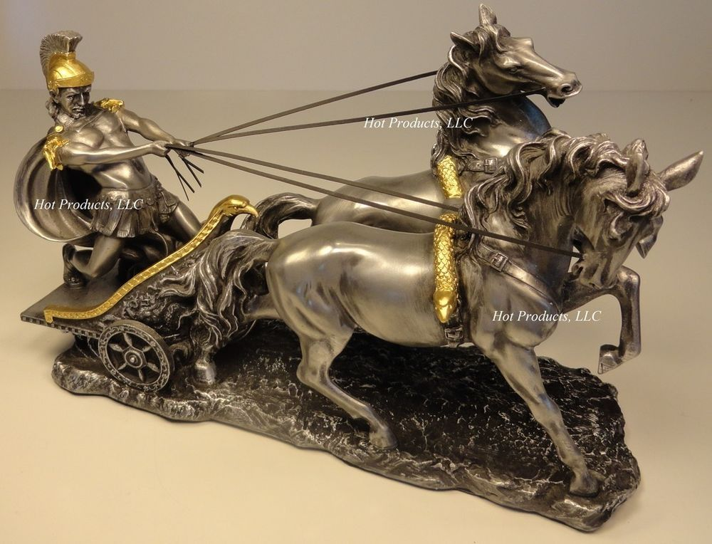 ae17c076814f ROMAN GLADIATOR CHARIOT Sculpture Statue Cold Cast Pewter   Finish w Gold  Accent
