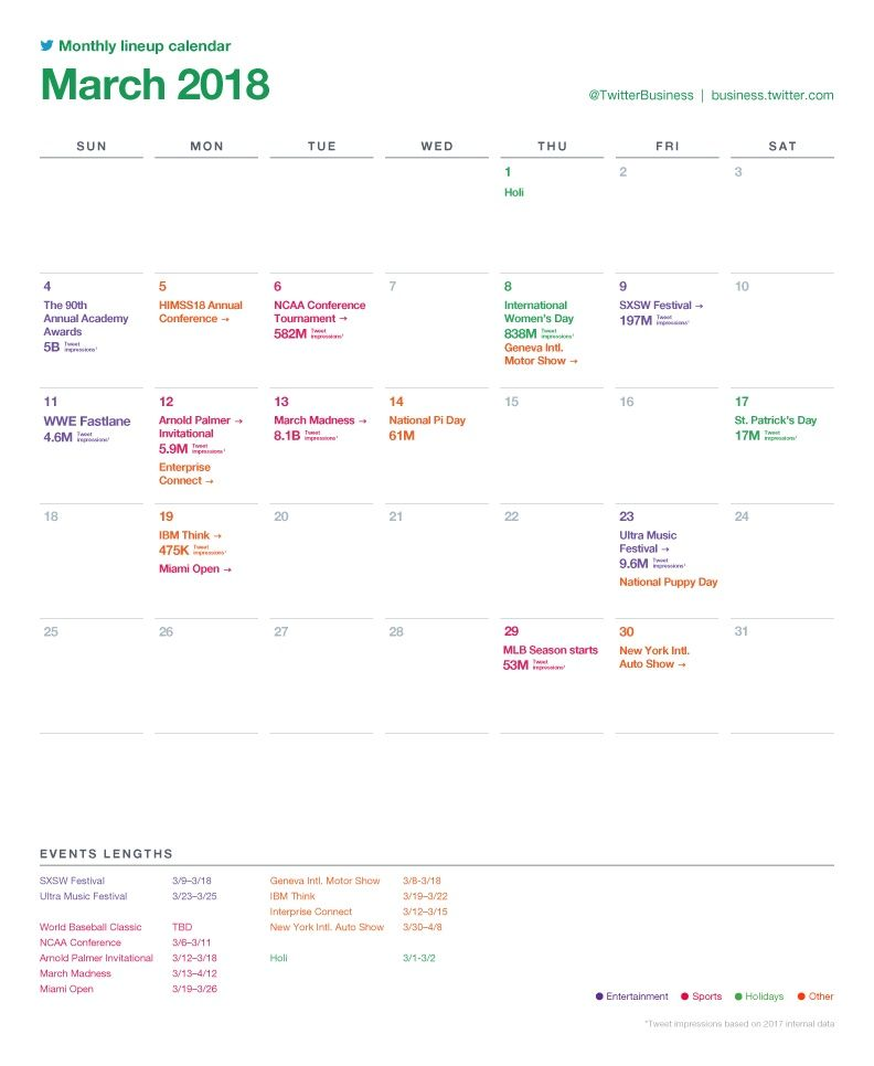 Twitter Releases Major Events Calendar For March To Assist With