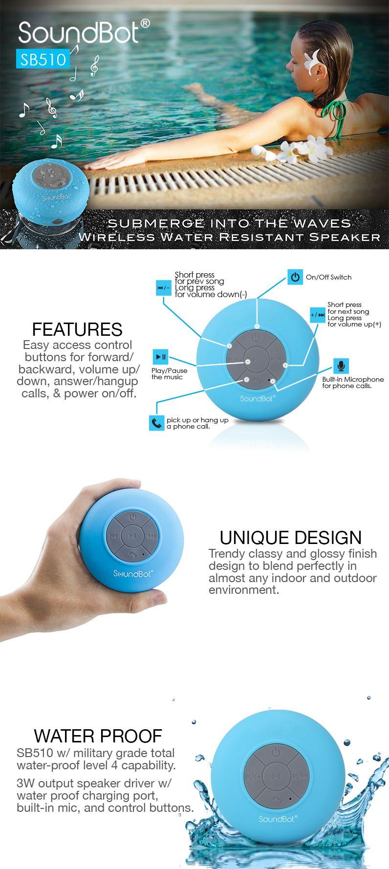 SoundBot SB510 HD Water Resistant Bluetooth 3.0 Shower