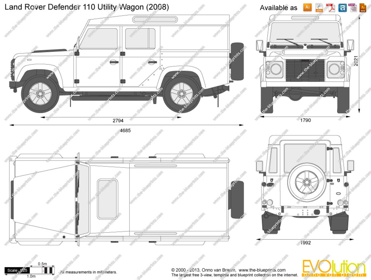 Land Rover Defender Interior Dimensions Blueprint With