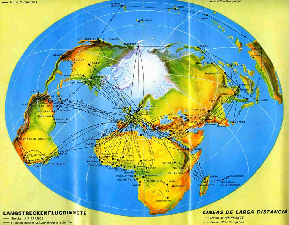 Air France Route Map 1967 #flatearth | Flat Earth? Yes! | Pinterest ...