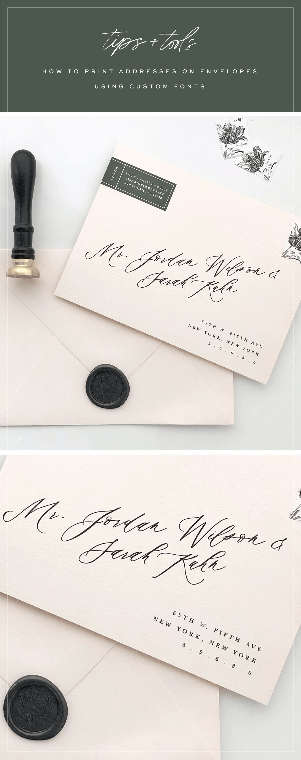 how to address wedding invites%0A Tutorial   How to print addresses on envelopes using custom fonts   Saffron  Avenue