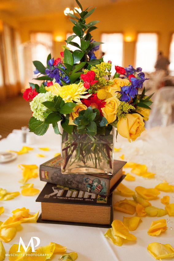 wedding centerpieces fake flowers%0A Colorful Comic Book Centerpiece