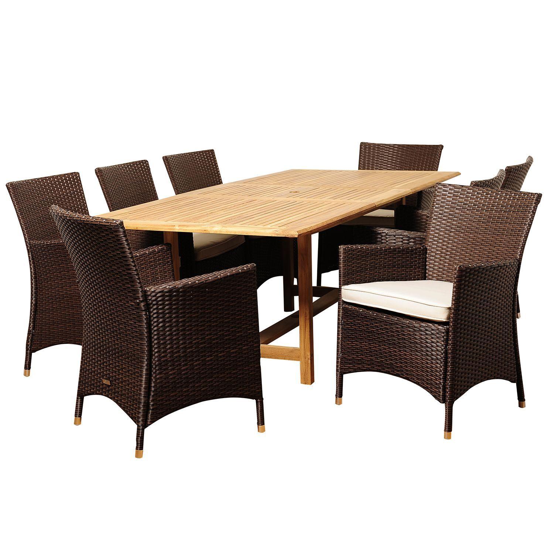vicenza teak wicker extendable rectangular patio dining set with off rh pinterest co uk