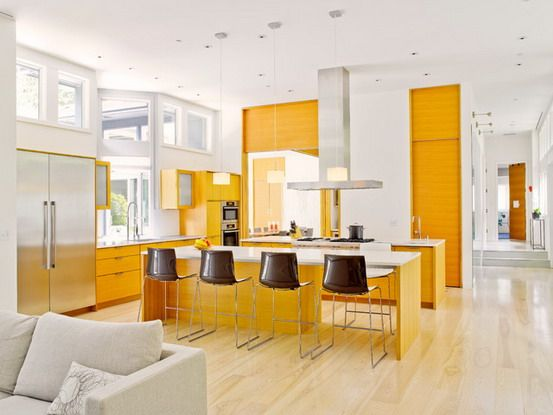 Kitchen: White Walls Decorated With Light Orange Cabinets In ...