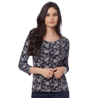 Maine New England Navy floral scoop neck top- at Debenhams.com